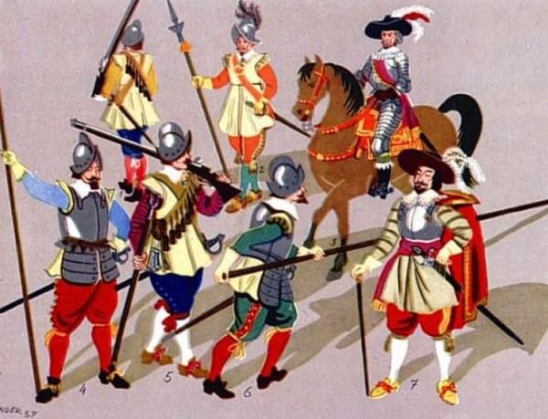 Oficerowie, muszkieterowie i pikinierzy armii polskiej w I połowie XVII wieku (rys. Karol Linder)